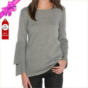 NWT KENSIE Tiered Bell Sleeve Sweater Heather Gray